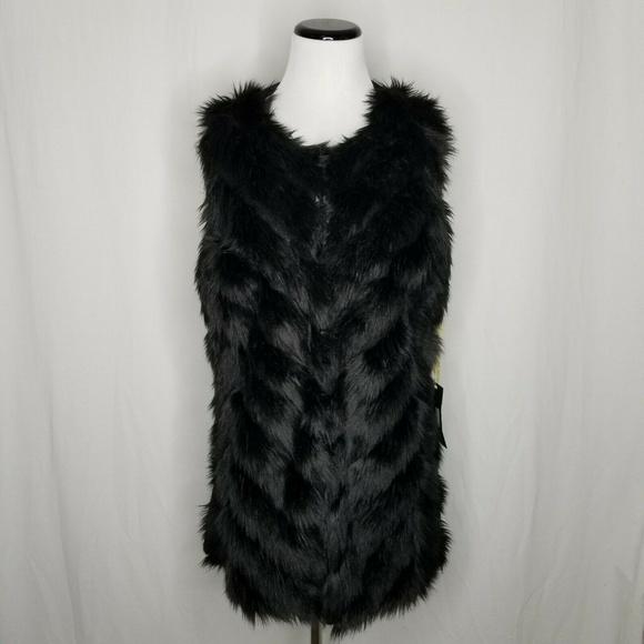 Metric Knits Jackets & Blazers - Metric Knits Black Faux Fur Knit Sweater Vest